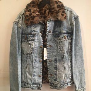 Pam & Gela Rabbit Fur Lined Jean Jacket